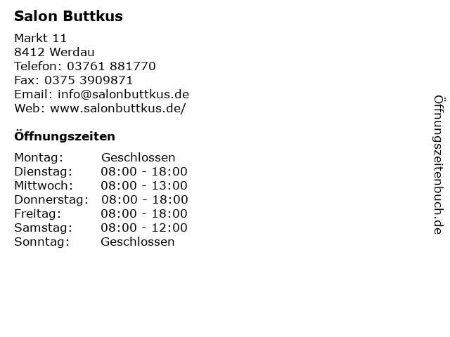 Salon Buttkus in Werdau: Adresse und Öffnungszeiten