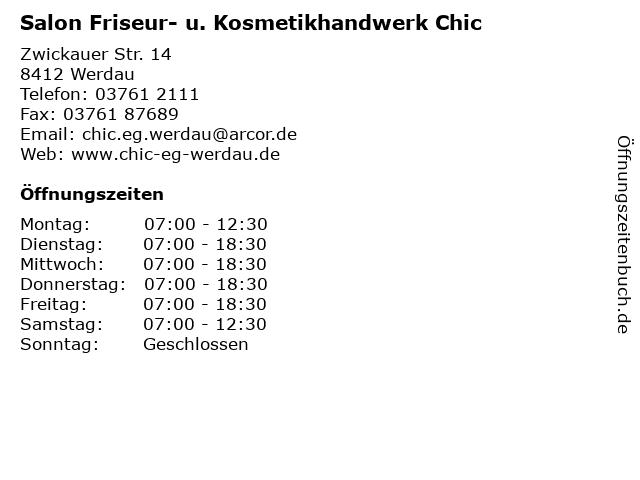 Salon Friseur- u. Kosmetikhandwerk Chic in Werdau: Adresse und Öffnungszeiten