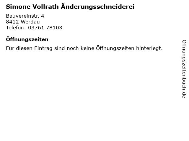 Simone Vollrath Änderungsschneiderei in Werdau: Adresse und Öffnungszeiten