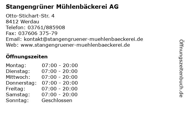 Stangengrüner Mühlenbäckerei AG in Werdau: Adresse und Öffnungszeiten