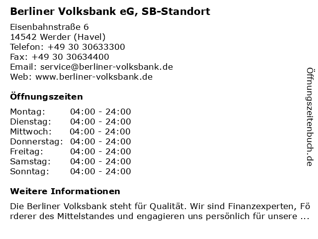 Berliner Volksbank eG, SB-Standort in Werder (Havel): Adresse und Öffnungszeiten