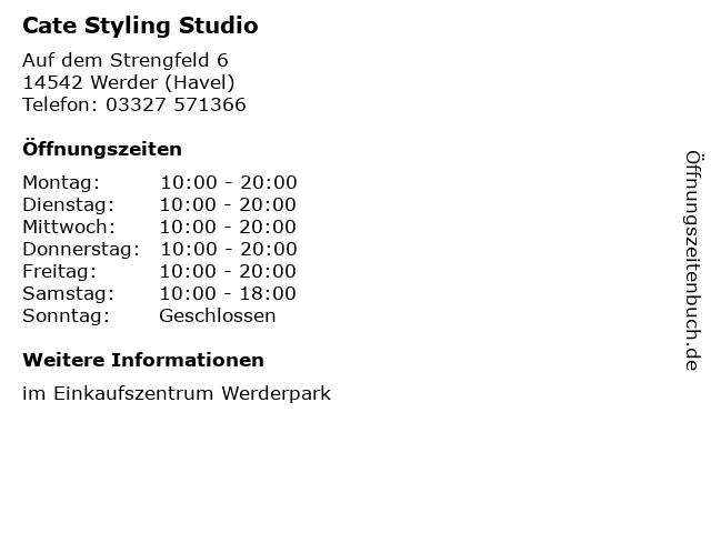 Cate Styling Studio in Werder (Havel): Adresse und Öffnungszeiten