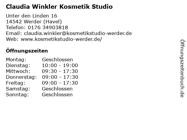 Claudia Winkler Kosmetik Studio in Werder (Havel): Adresse und Öffnungszeiten