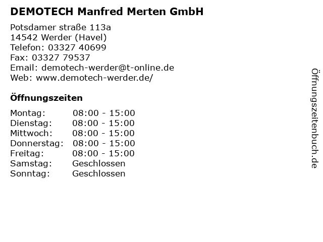 DEMOTECH Manfred Merten GmbH in Werder (Havel): Adresse und Öffnungszeiten