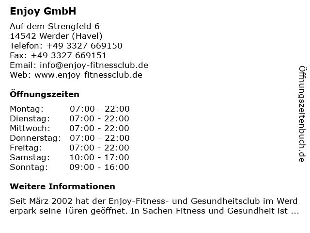 Enjoy GmbH in Werder (Havel): Adresse und Öffnungszeiten