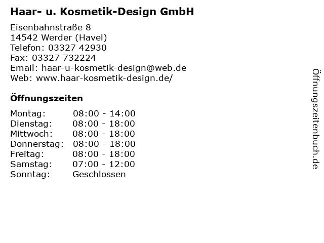 Haar- u. Kosmetik-Design GmbH Friseur in Werder (Havel): Adresse und Öffnungszeiten