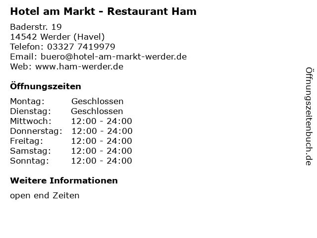 Hotel am Markt - Restaurant Ham in Werder (Havel): Adresse und Öffnungszeiten