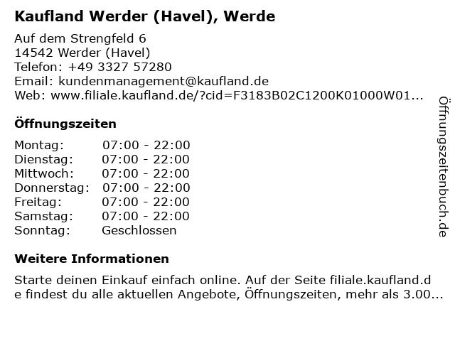 Kaufland Werder (Havel), Werde in Werder (Havel): Adresse und Öffnungszeiten