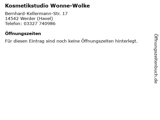 Kosmetikstudio Wonne-Wolke in Werder (Havel): Adresse und Öffnungszeiten