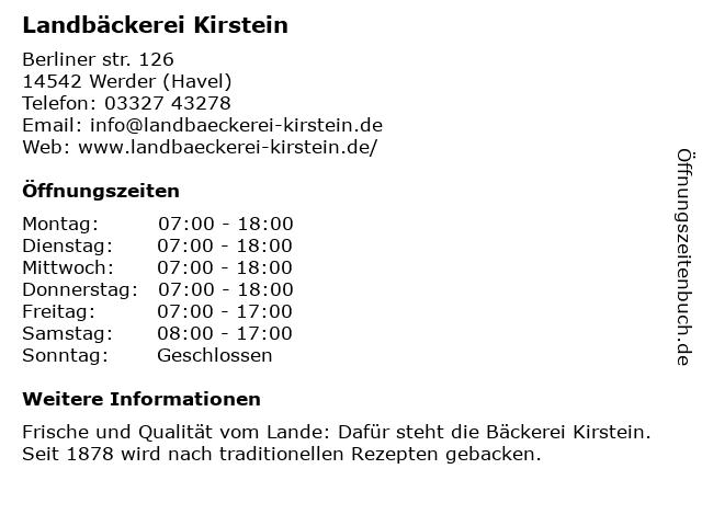 Landbäckerei Kirstein in Werder: Adresse und Öffnungszeiten