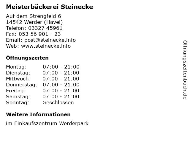 Meisterbäckerei Steinecke in Werder (Havel): Adresse und Öffnungszeiten