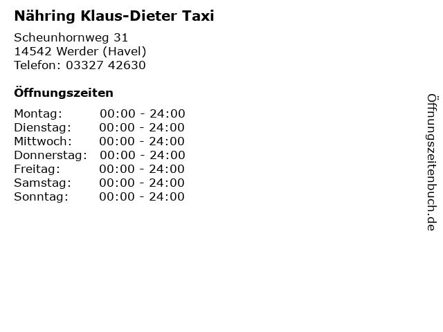 Nähring Klaus-Dieter Taxi in Werder (Havel): Adresse und Öffnungszeiten