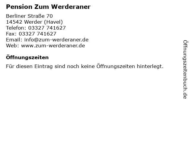 Pension Zum Werderaner in Werder (Havel): Adresse und Öffnungszeiten