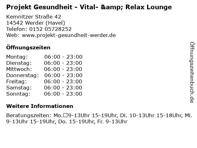 Projekt Gesundheit - Vital- & Relax Lounge in Werder (Havel): Adresse und Öffnungszeiten