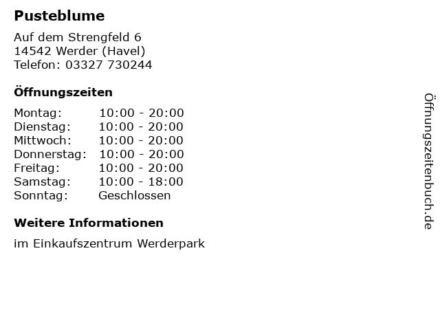 Pusteblume in Werder (Havel): Adresse und Öffnungszeiten