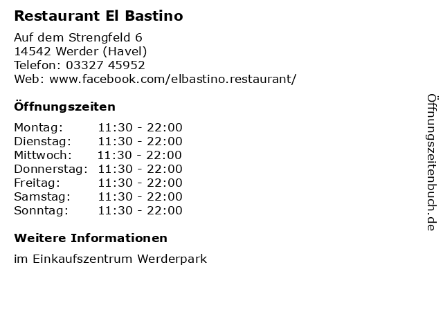 Restaurant El Bastino in Werder (Havel): Adresse und Öffnungszeiten