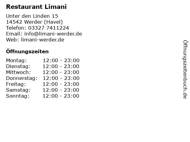 Restaurant Limani in Werder (Havel): Adresse und Öffnungszeiten