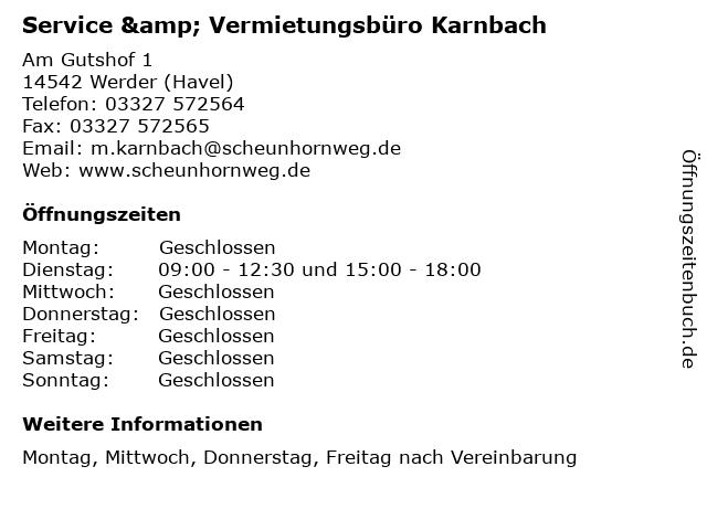 Service & Vermietungsbüro Karnbach in Werder (Havel): Adresse und Öffnungszeiten