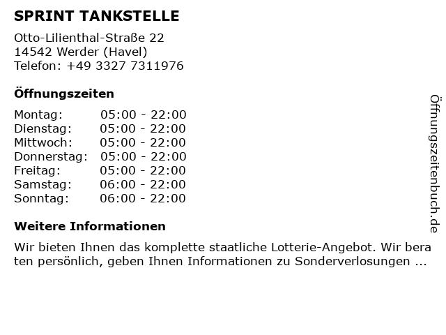 Sprint Tankstelle Werder (Havel) in Werder (Havel): Adresse und Öffnungszeiten