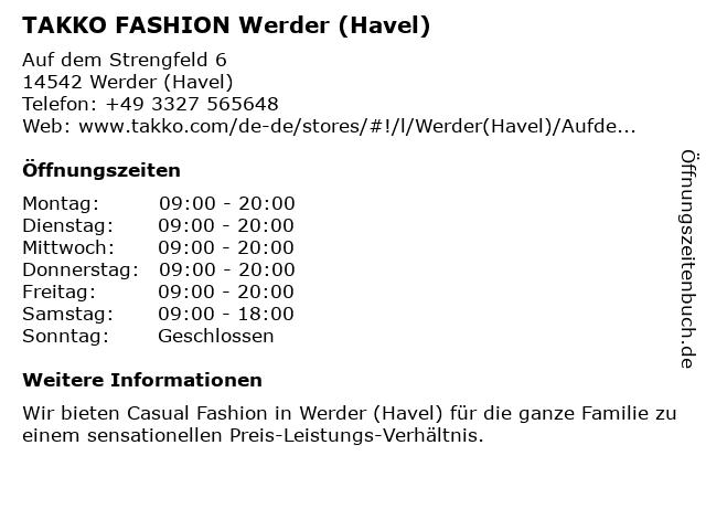 Takko Fashion in Werder (Havel): Adresse und Öffnungszeiten