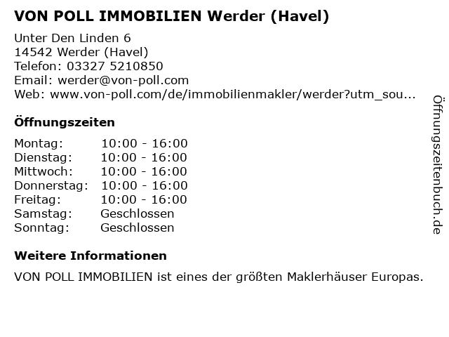 VON POLL IMMOBILIEN Werder (Havel) in Werder (Havel): Adresse und Öffnungszeiten