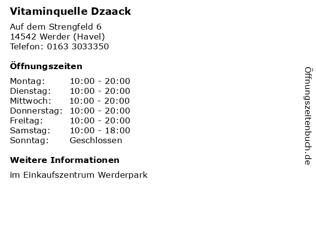 Vitaminquelle Dzaack in Werder (Havel): Adresse und Öffnungszeiten