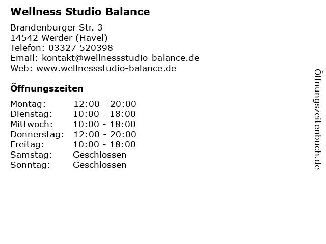 Wellness Studio Balance in Werder (Havel): Adresse und Öffnungszeiten