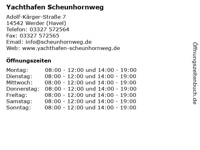 Yachthafen Scheunhornweg in Werder (Havel): Adresse und Öffnungszeiten