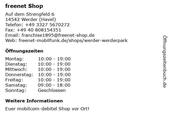 mobilcom-debitel in Werder (Havel): Adresse und Öffnungszeiten