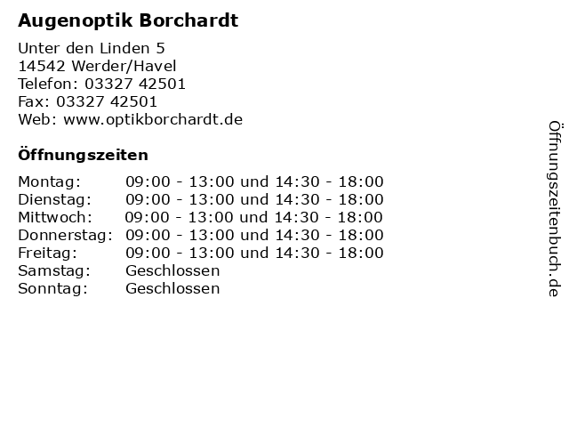 Augenoptik Borchardt in Werder/Havel: Adresse und Öffnungszeiten