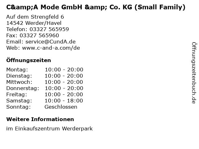 C&A Mode GmbH & Co. KG (Small Family) in Werder/Havel: Adresse und Öffnungszeiten