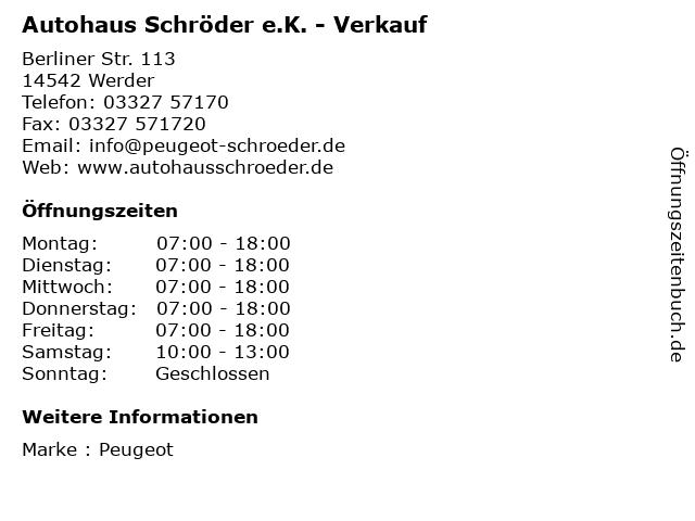 Autohaus Schröder e.K. - Verkauf in Werder: Adresse und Öffnungszeiten