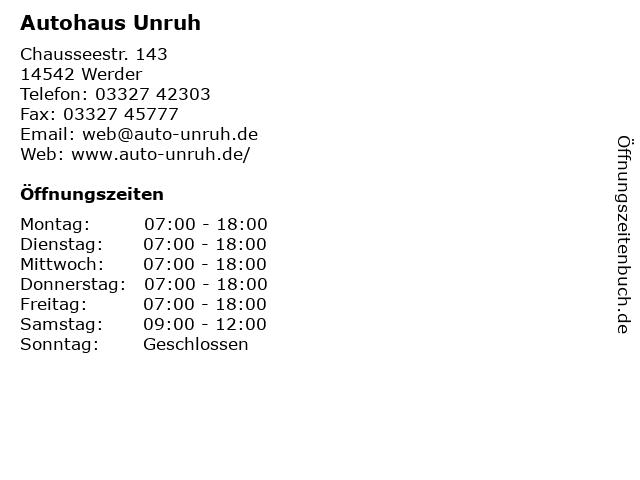 Autohaus Unruh in Werder: Adresse und Öffnungszeiten