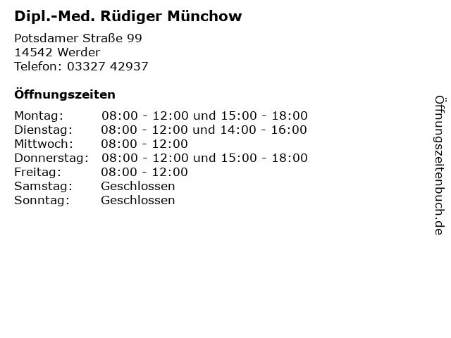 Dipl.-Med. Rüdiger Münchow in Werder: Adresse und Öffnungszeiten