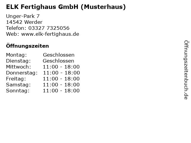 ELK Fertighaus GmbH (Musterhaus) in Werder: Adresse und Öffnungszeiten