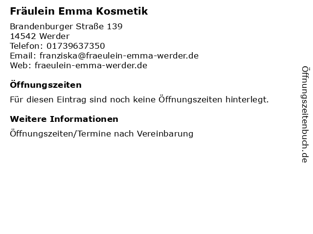 Fräulein Emma Kosmetik in Werder: Adresse und Öffnungszeiten