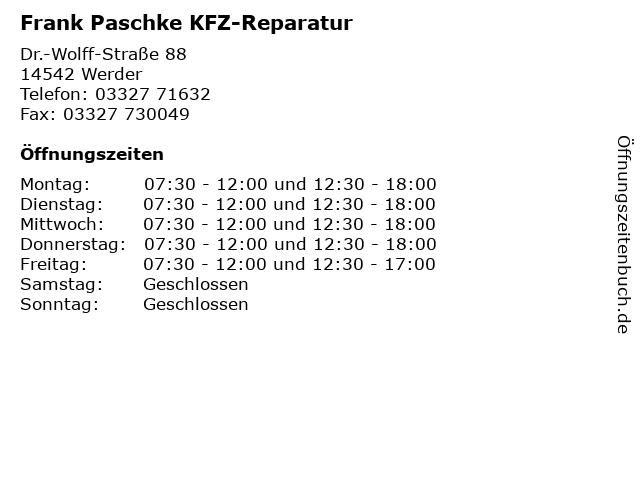 Frank Paschke KFZ-Reparatur in Werder: Adresse und Öffnungszeiten