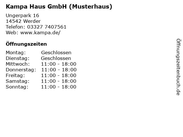 Kampa Haus GmbH (Musterhaus) in Werder: Adresse und Öffnungszeiten