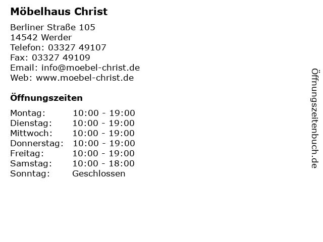 ᐅ Offnungszeiten Mobel Christ Berliner Strasse 105 In Werder