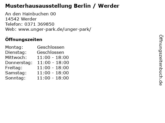 Musterhausausstellung Berlin / Werder in Werder: Adresse und Öffnungszeiten
