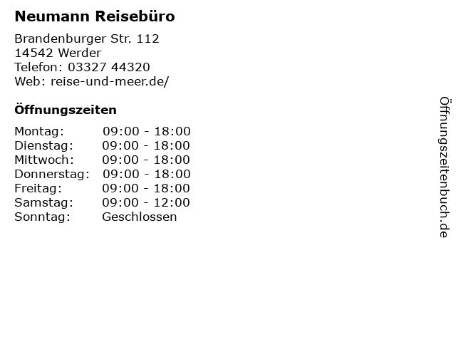 Neumann Reisebüro in Werder: Adresse und Öffnungszeiten