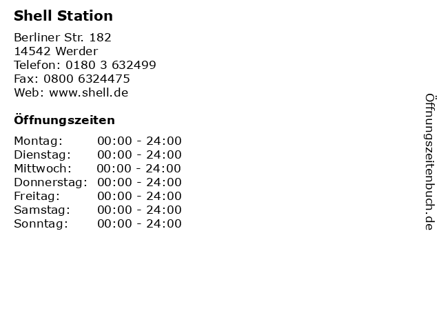 Shell Station in Werder: Adresse und Öffnungszeiten