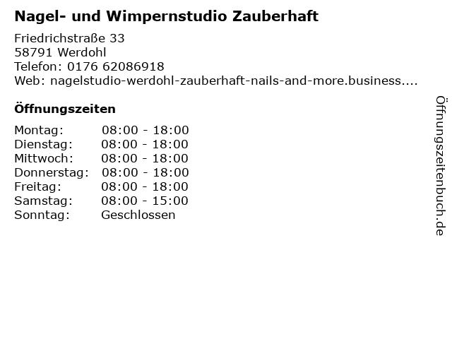 Nagel- und Wimpernstudio Zauberhaft in Werdohl: Adresse und Öffnungszeiten
