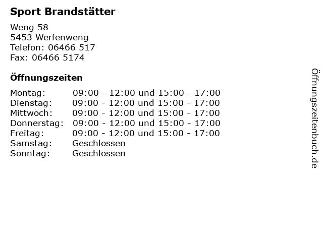 Sport Brandstätter in Werfenweng: Adresse und Öffnungszeiten