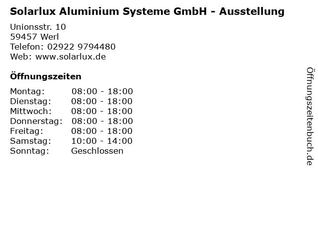 """ᐅ Öffnungszeiten """"Solarlux Aluminium Systeme GmbH ..."""