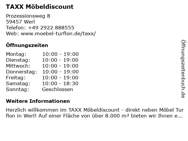 Taxx - Möbel Discount in Werl: Adresse und Öffnungszeiten