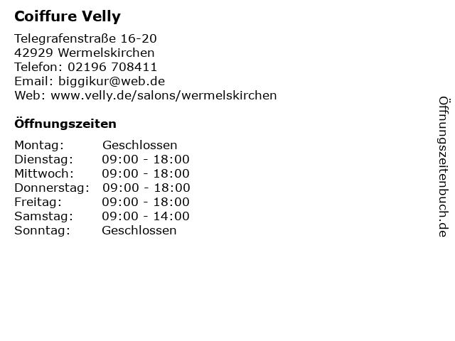 Coiffure Velly in Wermelskirchen: Adresse und Öffnungszeiten