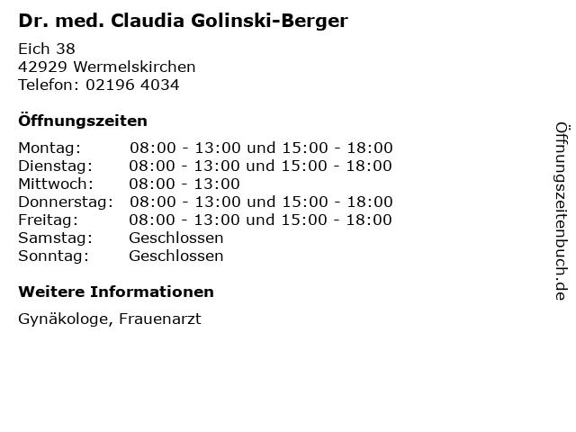 Dr. med. Claudia Golinski-Berger in Wermelskirchen: Adresse und Öffnungszeiten