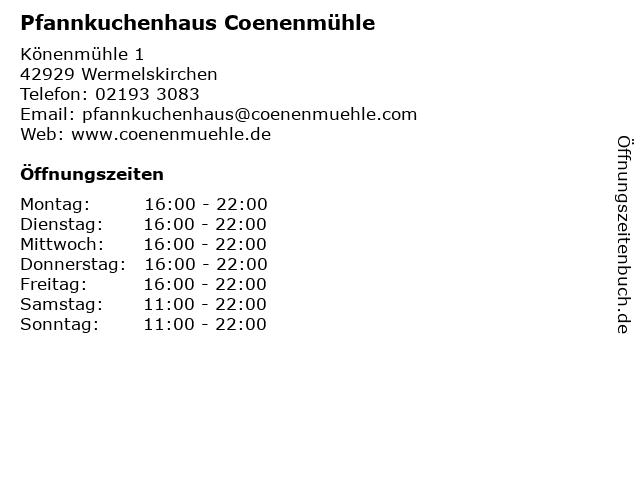 ᐅ öffnungszeiten Pfannkuchenhaus Coenenmühle Kg Könenmühle 1 In