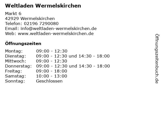 Weltladen Wermelskirchen in Wermelskirchen: Adresse und Öffnungszeiten